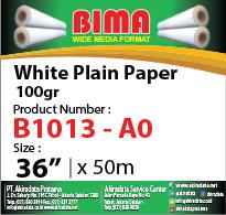 bima white plain paper 100gr x36'' x 50m A0