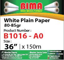 bima white plain paper B1016 80-85 x36'' x 150m A0